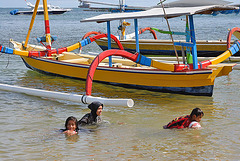 Local bathers at Sanur beach