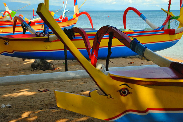 Balinese outrigger boats