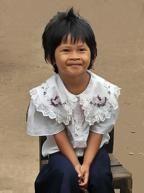 PICT7110bc Little Cham Tribe Girl Dressed in School Uniform