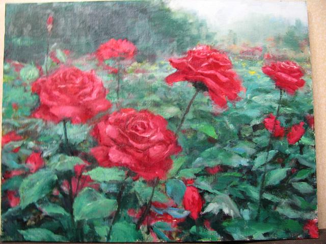 Rose Field=Roza Gxardeno=장미꽃밭=薔薇花園_oil on canvas_41x53cm(10p)_2008