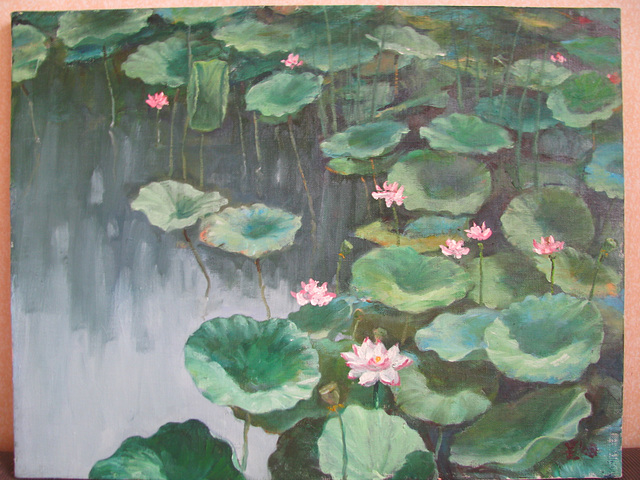 Lotus Pond(=Lotusa Lageto=연꽃밭=蓮池)_oil on canvas_41x53cm(10p)_2007_HO Song