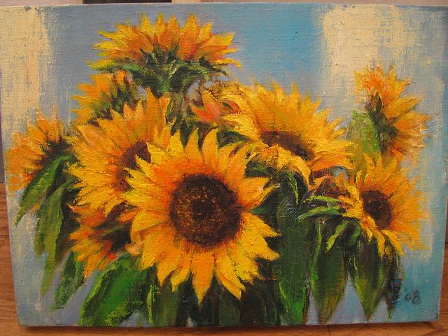 Sun-flower(=Sunfloro=해바라기=向日葵)_oil on canvas_24x33cm(4f)_2009_HO Song