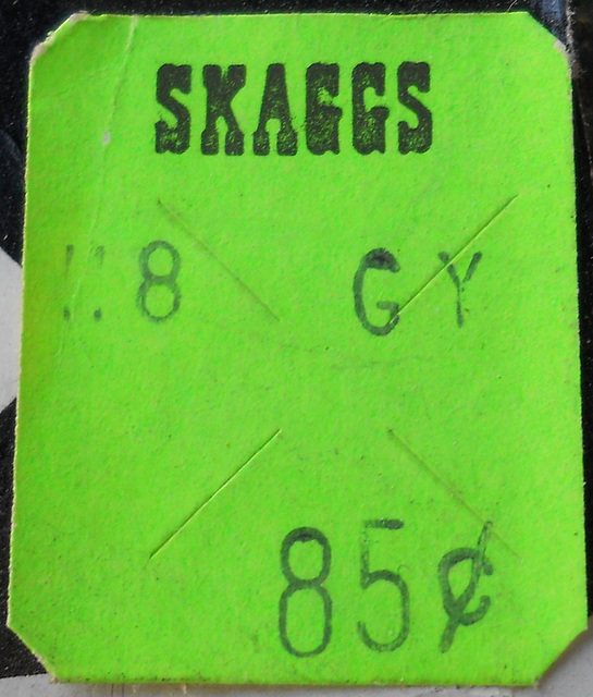 Vintage Skaggs price sticker
