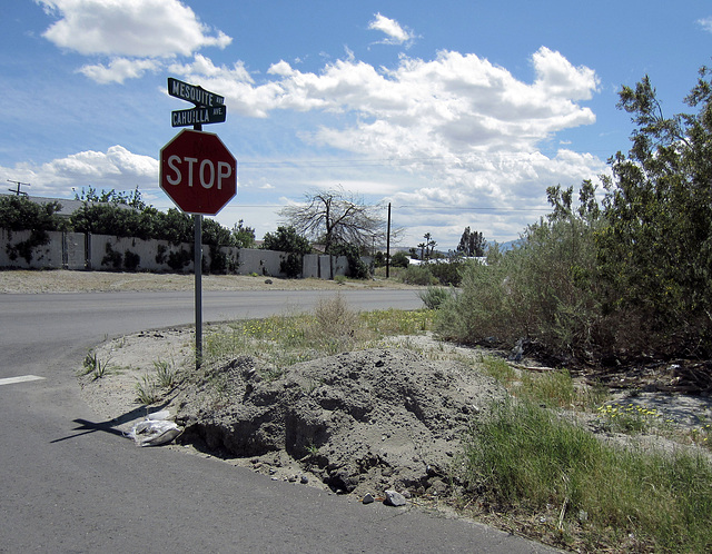 Mound of dirt at Mesquite & Cahuilla (0304)
