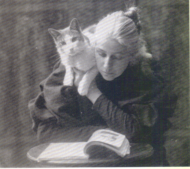 Amelia Van Buren sitting with Cat on Shoulder c 1891 photo by Thomas Eakins