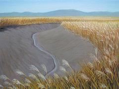 a Landscape with Small Channel of Tidewater 2 = Pejzagxo kun Marakva Flueto 2_oil on canvas=olee sur tolo_33.3x45.5cm(8p)_2011_HO Song