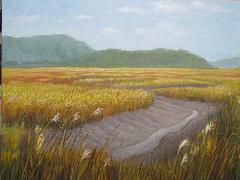 a Landscape with Small Channel of Tidewater 1 = Pejzagxo kun Marakva Flueto 1_oil on canvas=olee sur tolo_41x53cm(10p)_2011_HO Song