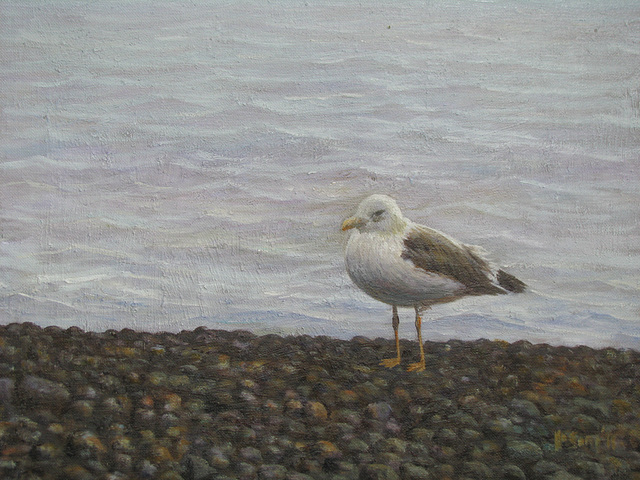a Coast Landscape with a Sea Bird=Apudmara Pejzagxo kun Birdo_oil on canvas=olee sur tolo_32x41cm(6f)_2011_HO Song