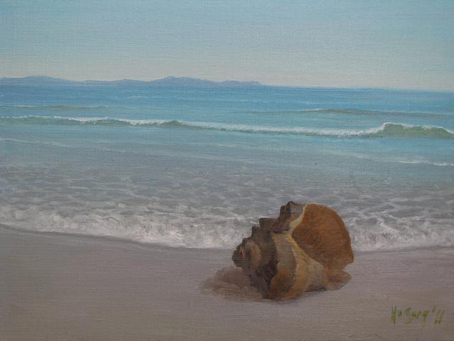 a Coast Landscape with a Conch=Apudmara Pejzagxo kun Konko_oil on canvas=olee sur tolo_32x41cm(6f)_2011_HO Song