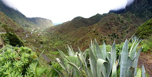 Blick durch das Tal nach Hermigua und Richtung Nordost-Küste.  Das übliche Bild der Insel: Täler und Schluchten und Bergrücken vom Inselzentrum zur Küste. ©UdoSm