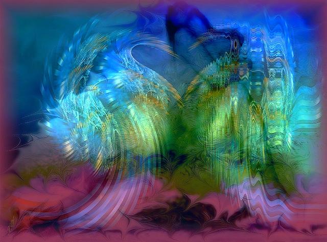 De sa main longue et fine, elle prend et parsème autour d'elles les graines De désir, les bourgeons de plaisir, battements de coeur, élans enflammés...