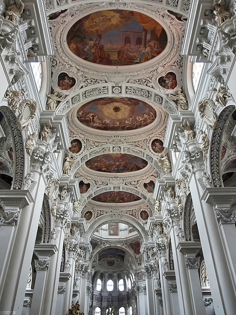P6064473ac Passau St Stephen Baroque Cathedral Main Nave Ceilings Partial View