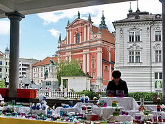 P6084564ac Ljubjana Riverside Art Shops and Santa Maria Baroque Church