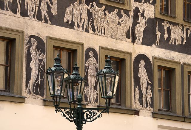 Frescoes in Old Market Square, Prague