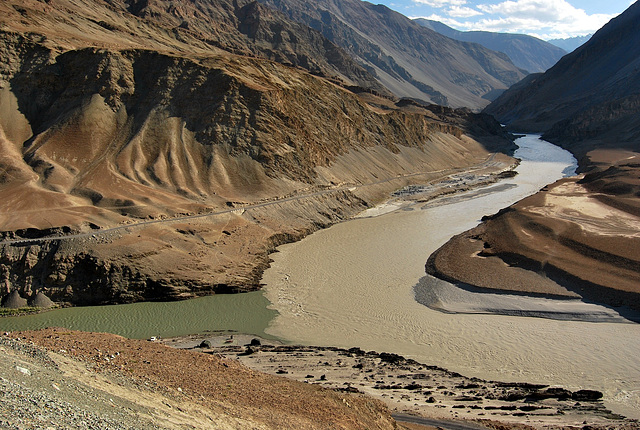Confluence: Indus and Zanskar Rivers