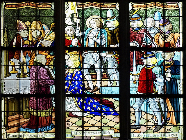 P6024107ac L'Epine Basilica Window of French King Charles VII Coronation in Reims 1422