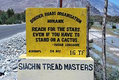 India:Border Roads sign, Nubra Valley Ladakh
