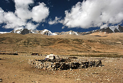 Tso Moriri. Nomad camp and sky at 4700meters