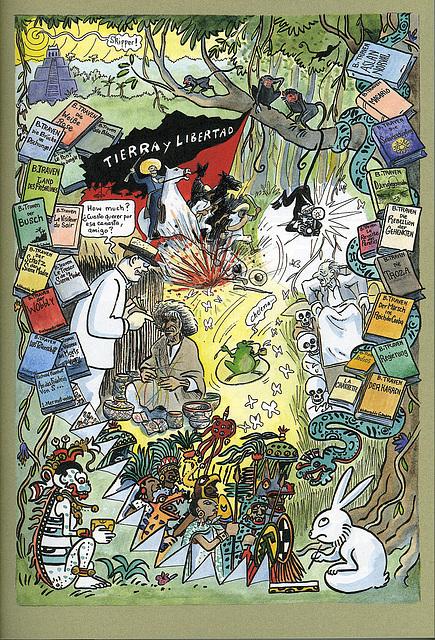 Golo: B.Traven - portreto de fama nekonatulo, tierra y libertad, sceno el la komikso