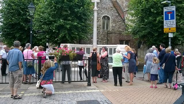 Gathering at St Faith's Church War Memorial
