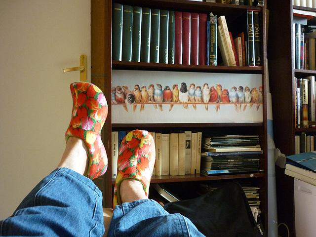 Christiane avec ses sabots de lectrice / Christiane with her reader's clogs - With / Avec permission.