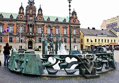 Brunnen auf dem Rathausplatz von Malmö