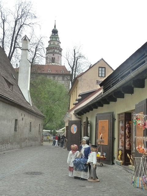 Český Krumlov - vido al la kastela turo