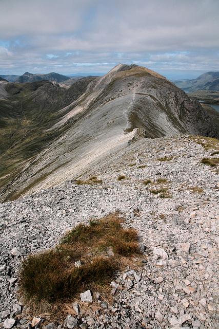 Climbing the first top on the Beinn Liath Mhor ridge