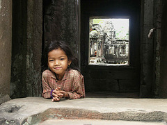 PICT6782ac Local Little Girl Smiling at a Temple Window