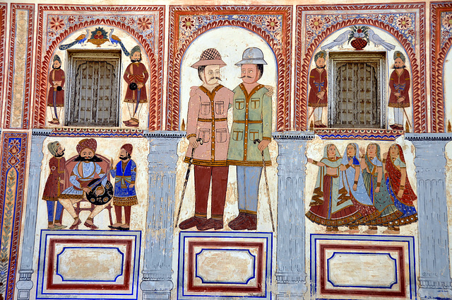 India. Painted haveli detail