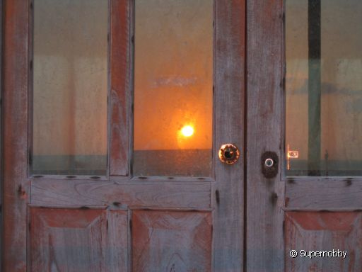 sunset in the window