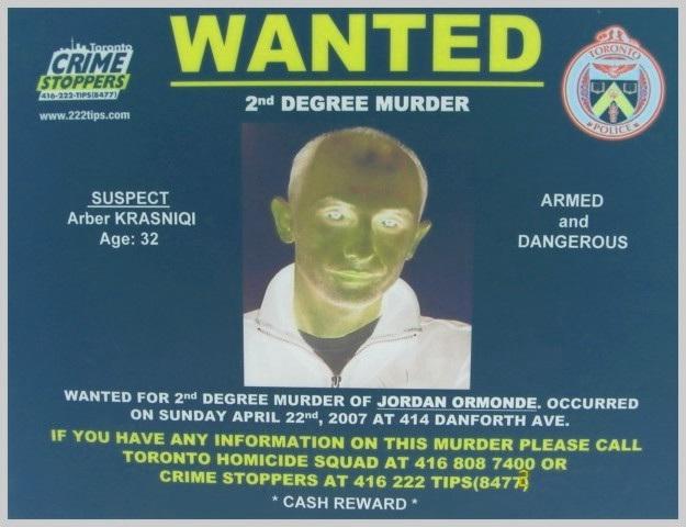 Arber Krasniqi - Wanted / Recherché - Toronto, Canada / Négatif RVB