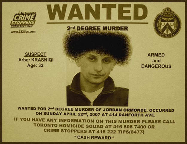 Arber Krasniq-Wanted / Recherché - Toronto, Canada. July 2nd 2007. - Perruque photofiltrée / Photofiltered wig