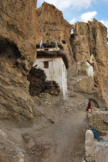 Stone, rock and sand. Monastery, Spiti