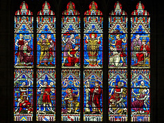 P6295705ac Dijon Cathedral High South Transept Window of St Benigne Lower Details
