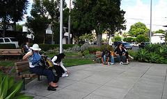 Great L.A. Walk (1426) Resting Hikers