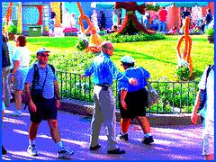 Crew Lady in action - Action ! Dame en bleu bien équipée ! Disney Horror pictures show / December 30th 2006  - Pointillisme aux couleurs ravivées en postérisation