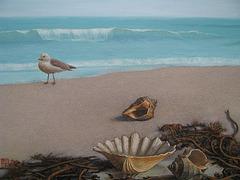 a Coast Landscape=Marborda Pejzagxo_oil+coffee on canvas_50x65.1cm(15p)_2011_HO song