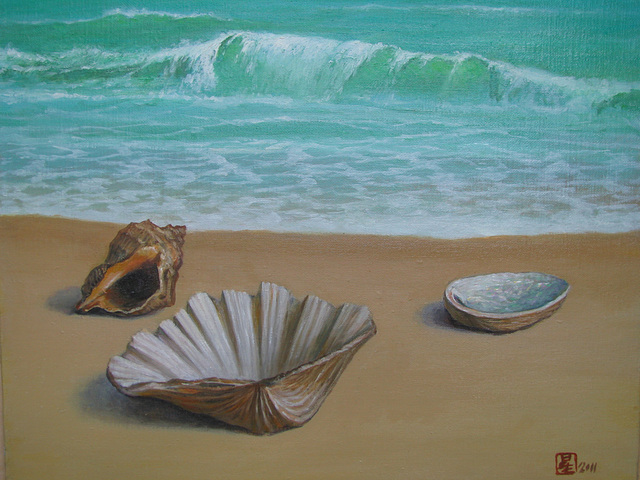 a Warm Coast=Varmeta Marbordo=溫和的海邊_oil on canvas=olee sur tolo_38x45.5cm(8f)_2011_HO Song