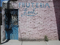 Bricks wall fruteria / Fruiterie en briques / Fruitgrocer behind bricks