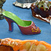 Brocante de Limoux flea market  / Petite chaussure de porcelaine - Small porcelain shoe / Photo originale