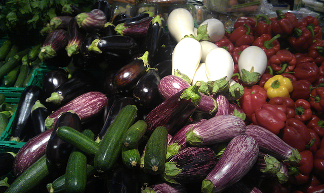 Eggplants, peppers, cucumbers