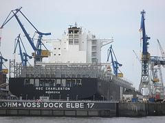 Containerschiff  MSC  CHARLESTON im Dock