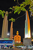 Democracy Monument in spot light