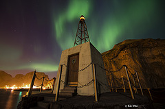 Northern lights  and lighthouse