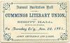 Cummings Literary Union Ball, Jan. 22, 1867