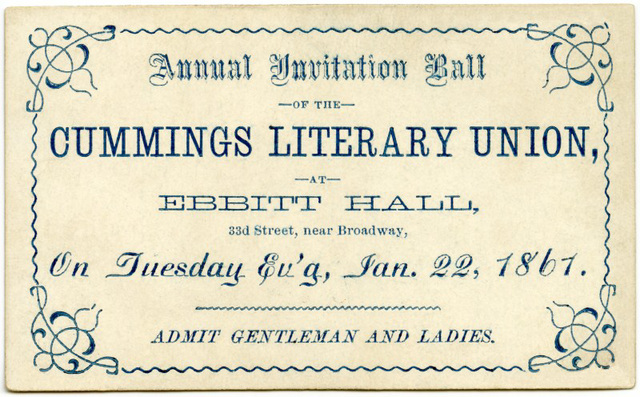 Cummings Literary Union Ball, Jan. 22, 1867