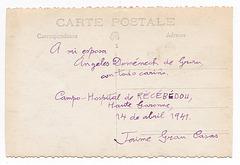dorso de ekzila postkarto - 1941