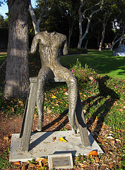 Great L.A. Walk (1508) Sitting Figure On A Short Bench by Magdalena Abakonowicz.
