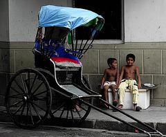 Rickshaw and boys